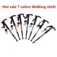 7colors T Bar Anti Shock Hiking Walking Trekking Trail Poles Ultralight 4 Section Adjustable Canes Walking