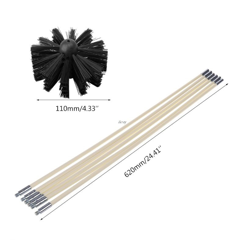 Chimney Cleaner Brush  Rotary Sweep System Stove Fireplace Clean Kit W//Rod