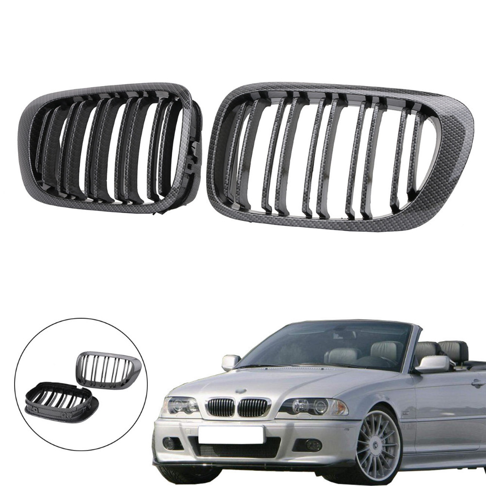 Carbon Fiber Double Line Front Kidney Grille Grill for BMW E46 M3 3 Series 325 323Ci 325Ci 330Ci 1998-2001 Coupe #PDK661 3 series carbon front bumper racing grill grills for bmw f30 f31 standard sport 12 16 320i 325i 330i 340i non m3 style car cover