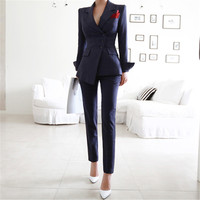 Pant Suits 2 Piece Sets Striped Blazer Jacket &Trousers For Women Office Lady Outfits Spring Business Formal Work Wear Uniform
