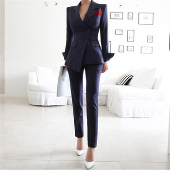 Pant Suits 2 Piece Sets Striped Blazer Jacket &Trousers For Women Office Lady Outfits Spring Business Formal Work Wear Uniform black velvet elegant pant suits costumes for women office business suits formal work wear 2 piece sets office uniform styles