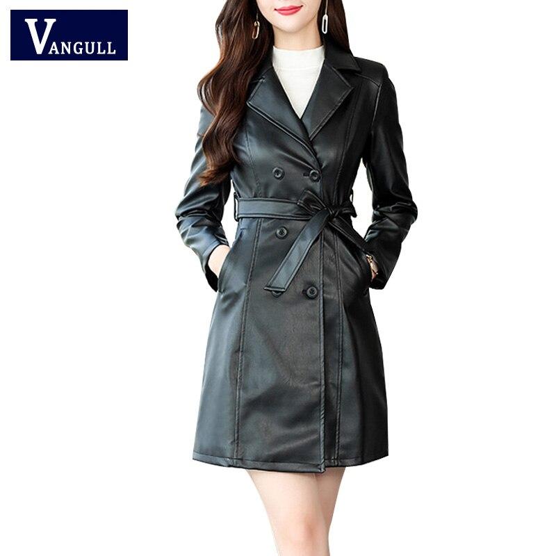 VANGULL Autumn Winter Women Sheepskin PU   Leather   Jacket Belt Gothic Black Trench Free Wash Double Breasted Big Size   Leather   Coat