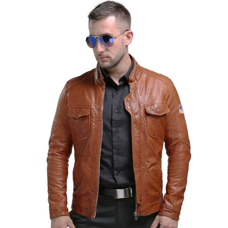 Pria Asli Jaket Kulit Musim Dingin Nyata Jaket Kulit Moto & Biker - Pakaian Pria - Foto 3