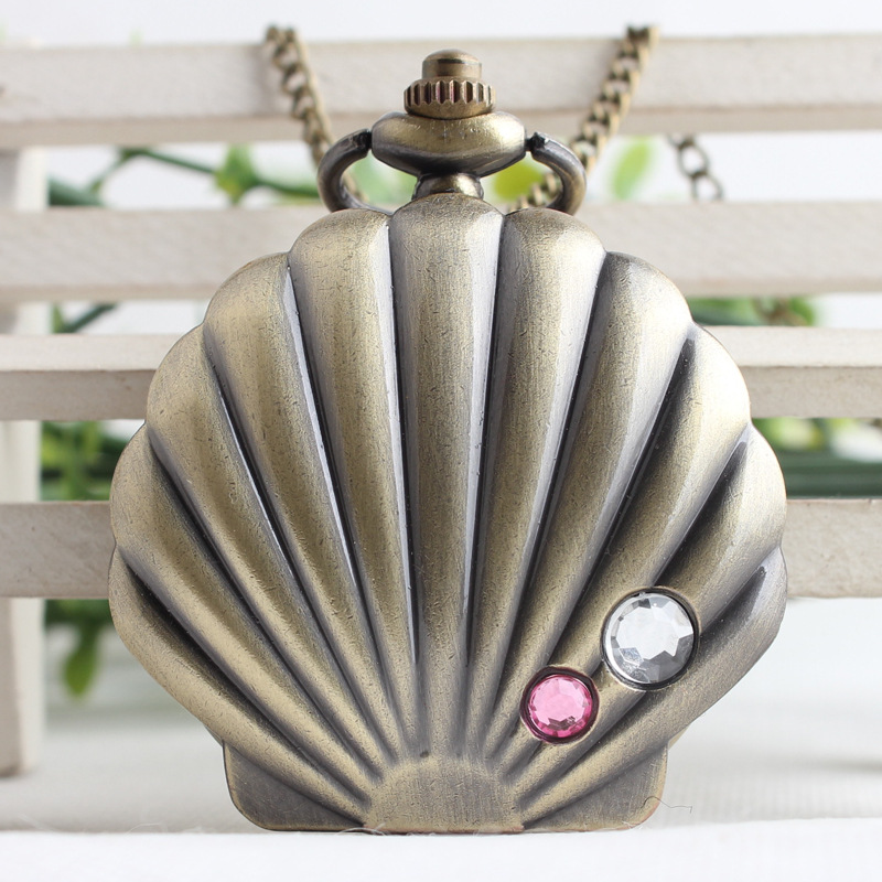 New Cameo Shell Shape Bronze Mussel Oyster Shell Crystal Quartz Pocket Watch Analog Pendant Necklace Womens Ladys Gift TPB114