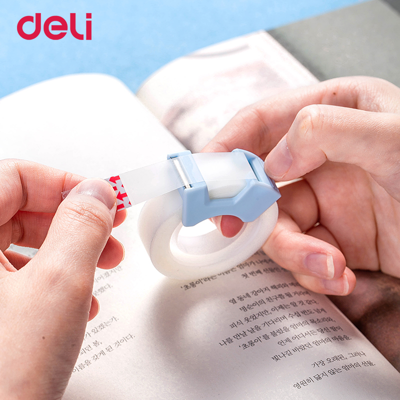 Deli Kawaii Transparent Masking Tape Blue/pink Student Writing Copy Tape Gift Cutting 2 Pieces Washi Tapes Stationery Wholesale