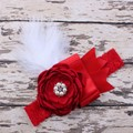 Baby bow flower Hair Bands Lace Elastic headband infant Solid color Rhinestone Headwear Party Supplies