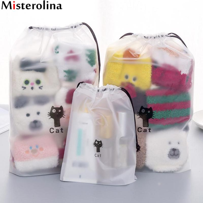 Dropshipping Cute Cat Transparent Cosmetic Bag Travel Makeup Case Women String Make Up Organizer Storage PouchDropshipping Cute Cat Transparent Cosmetic Bag Travel Makeup Case Women String Make Up Organizer Storage Pouch