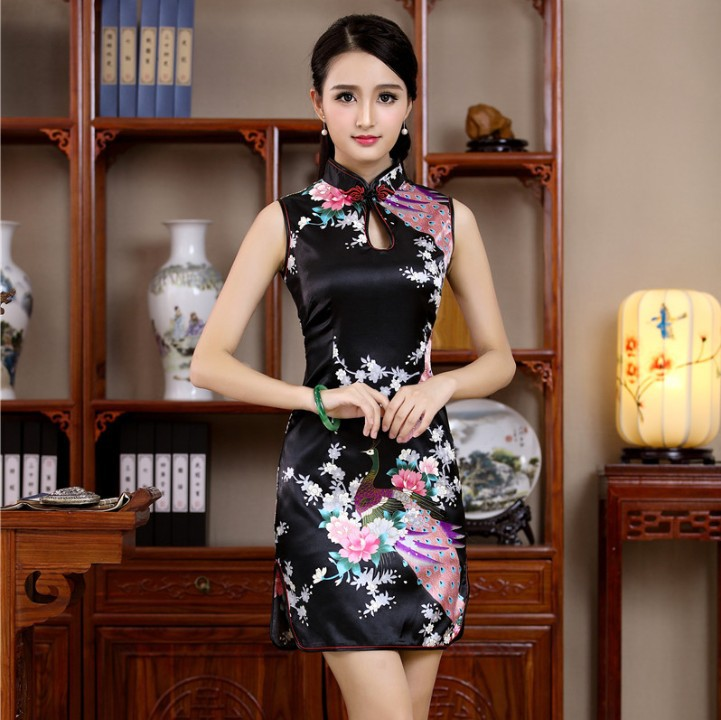 New Satin Women s Sleeveless Sexy Qipao Dress Chinese Style Mandarin Collar Formal Short Flower Cheongsam