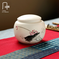 Tea Caddy Ceramic Pot Sealed Small Tank Jingdezhen Handpainted Pot Tank Ceramic Storage Tanks Chinese Style