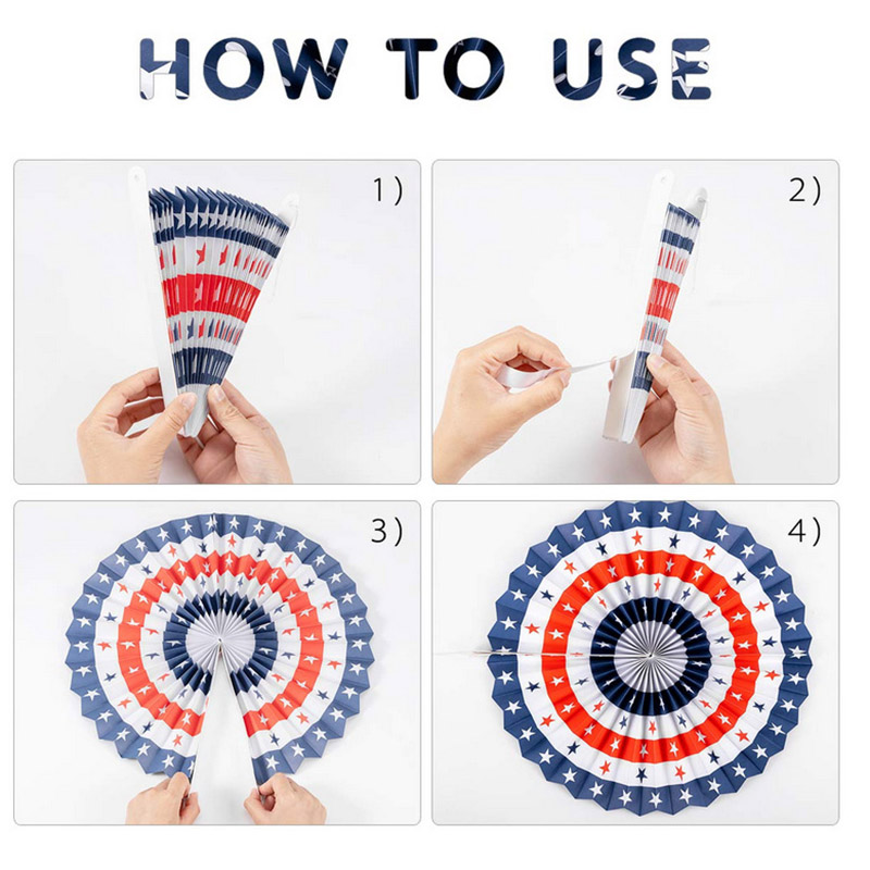 1Set/6Pcs 4th of <font><b>July</b></font> <font><b>Decorations</b></font> Paper Fan Patriotic American Independence Day Party Supplies #<font><b>4</b></font> image