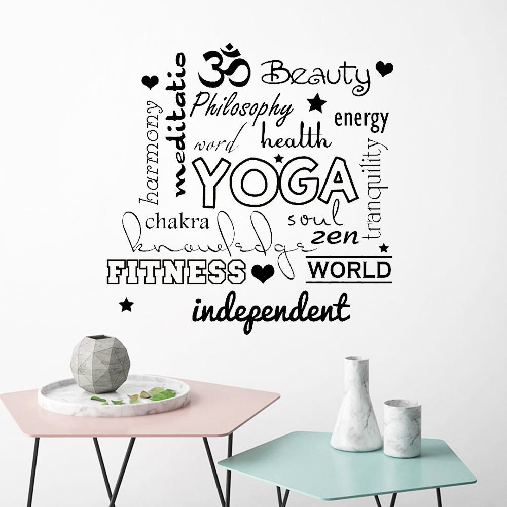 Inspiring Quotes Wall Decal Yoga Om Fitness Zen Yoga Studio Vinyl Sticker Wallpaper Sport Gym Decor Wall Stickes Bedroom Z240