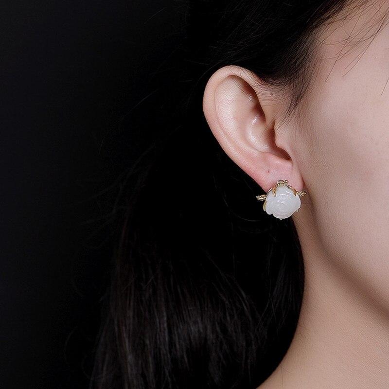 Clous de fleur de Jade blanc sculptés à la main Uglyless pour femmes 100% véritable solide 925 boucles d'oreilles en argent plaque d'or bijoux fins gemmes - 2