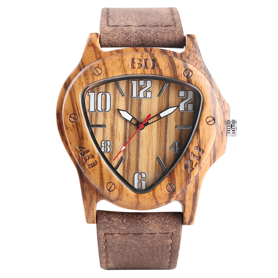 genuine leather band pink buckle quartz zebra wood watches01