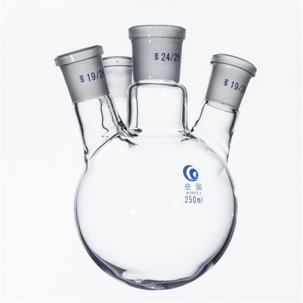 250ml,4-neck,Round bottom Glass flask,Lab Boiling Flasks,Four neck laboratory glassware reactor 500ml 40 24 2 joint 3 neck round bottom straight necks flask lab glassware