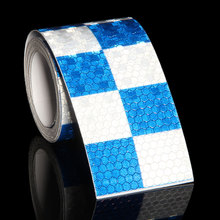 цена на 5CMx9M Motorcycle Car Stickers Light Reflectors Reflective Stickers Arrow Grid Blue White Red Reflective Tapes For Safety Sign