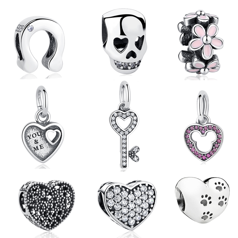 100% 925 Sterling Silver Special Skull Beads Fit Pandora Charms Original Bracelet Love Heart Footprint Charms Beads Diy Jewelry