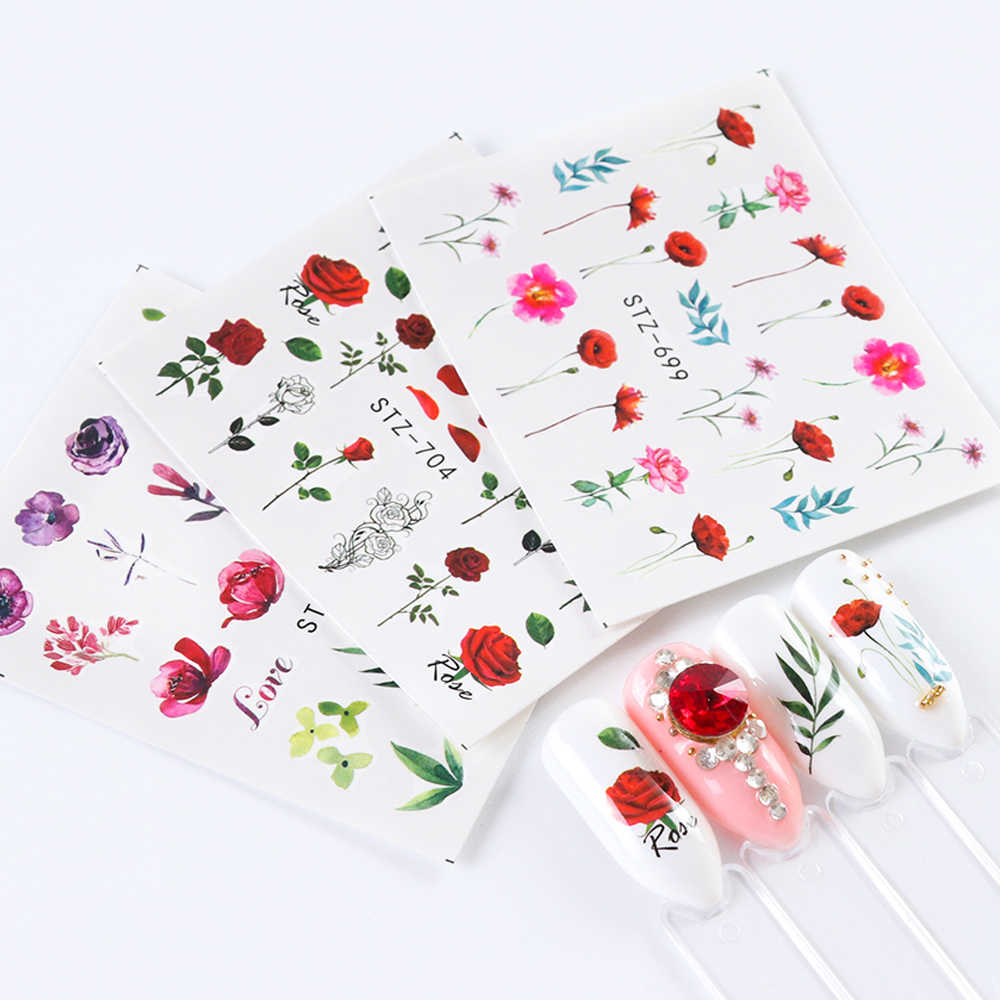 24 blätter/sätze Nagel Wasser Aufkleber Blume Flamingo Schönheit Slider Blüte Bunte Anlage Muster 3D Maniküre Aufkleber TRSTZ683-706-1