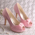 Wedopus Custom Handmade High Quality Ladies Shoes High Heel Pink  Satin Peep Toe Size 10