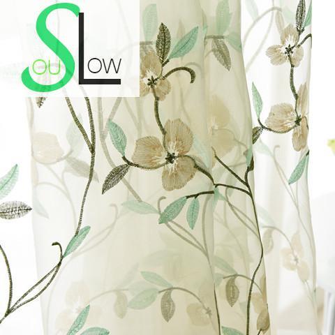Langsam Seele Grüne Jade Orchidee Bestickt Vorhang Baumwolle Weiß Rosa  Pastoralen Floralen Vorhänge Tüll Für Wohnzimmer Küche Schlafzimmer In  Langsam Seele ...