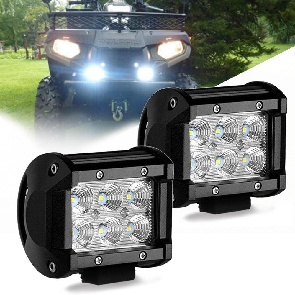 MODERN CAR 2pcs 18W Fog Light Day Lamp Bar Flood Beam Work Led Light For Jeep SUV ATV UTV Trunk Golf Cart Boat Off Road 4WD 4x4