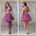 Sexy Strapless Sweetheart Low Back A-line Two-color Tulle Beaded Crystals Short Cocktail Dress