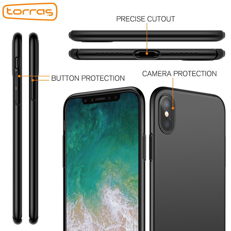 watch 76beb dce67 US $15.84 |TORRAS CASE for iPhone X,Hard PC Slim Phone Case Back Cover Full  Protection Phone Case for iPhone x Cover with Tempered Glass-in Fitted ...