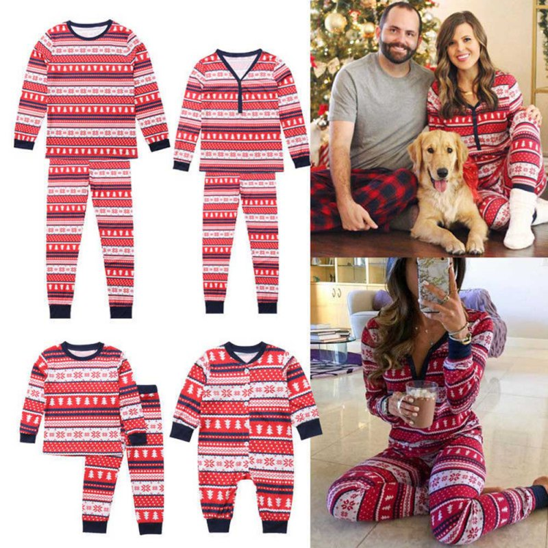 Famille correspondant noël à manches longues pyjamas ensembles femmes hommes bébé enfants famille noël arbres imprimé vêtements ensembles - 6