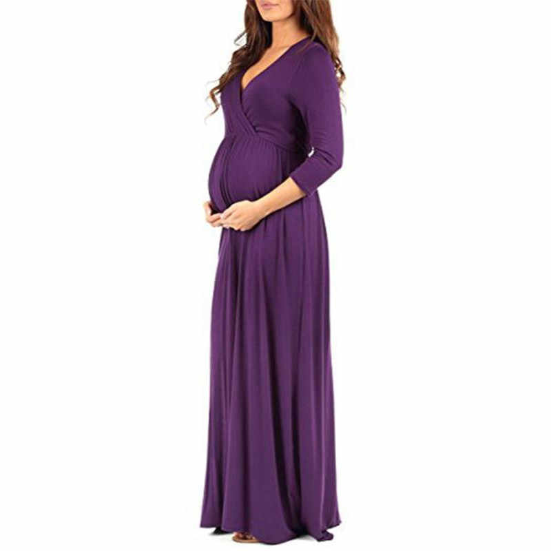 Платье для беременных TELOTUNY, женское платье с рюшами, для беременных, однотонное, 3/4 рукав, v-образный вырез, Длинное свободное платье, одежда для беременных NOV11