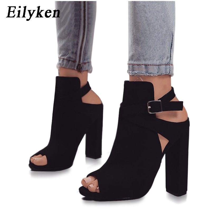 Eilyken Flock Women Sandals Gladiator High Heels Strap Pumps Buckle Strap Shoes Fashion Summer Ladies Shoes Women SIZE 35-42 chrome front grille cover trim for ford fusion 2013 2014 2015