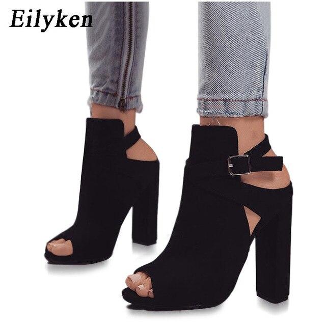 Eilyken Flock sandalias de mujer gladiador tacones altos zapatos de correa de hebilla zapatos de moda de verano zapatos de mujer talla 35- 42