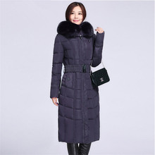 Winter Women's Coats Big Size Women Slim Hooded Parkas Faux Fox Collar Mother Thick Cotton Padded Belt Jacket 4XL 5XL A1435