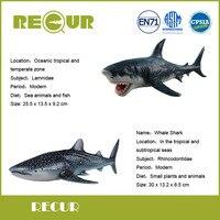 2 Pcs Lot Recur Toys Whale Shark Model PVC Hand Painted Great White Shark Marine Animal