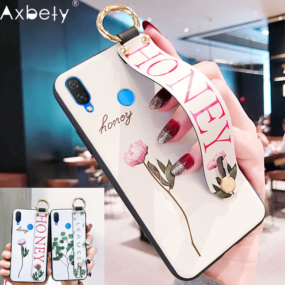 AXBETY sFor honor 8x/honor 10/9 lite /enjoy 8 plus Fashion Flower Lanyard Stand  Phone Case For huawei nova 3i silicon cover