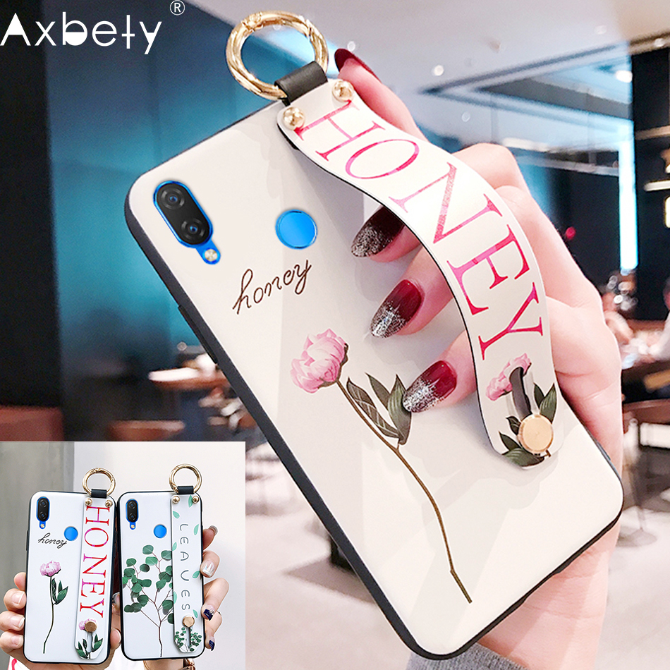 AXBETY For Honor 8x/ Honor 10/ Enjoy 8 Plus Fashion Flower Lanyard Stand  Phone Case For Huawei Nova 3i Silicon Cover For 9 Lite
