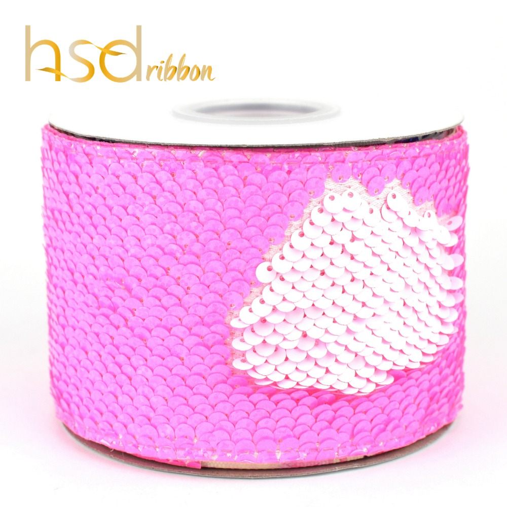 Image 2 - HSDRibbon 75mm double color Sequin Fabric Reversible Glitter  Sequin Ribbon 25Yards per Roll for diy bowsRibbons