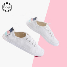 BDQE New Women Canvas Shoes Breathable Fashion Brand Flat Woman Sneakers White shoes