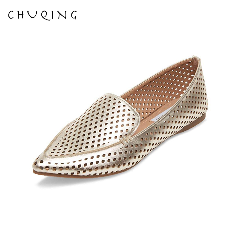 CHUQING 2019 New Hot Women Shoes Loafers Hollow Flat Shoes Genuine Leather Shoes Female Casual Moccasin