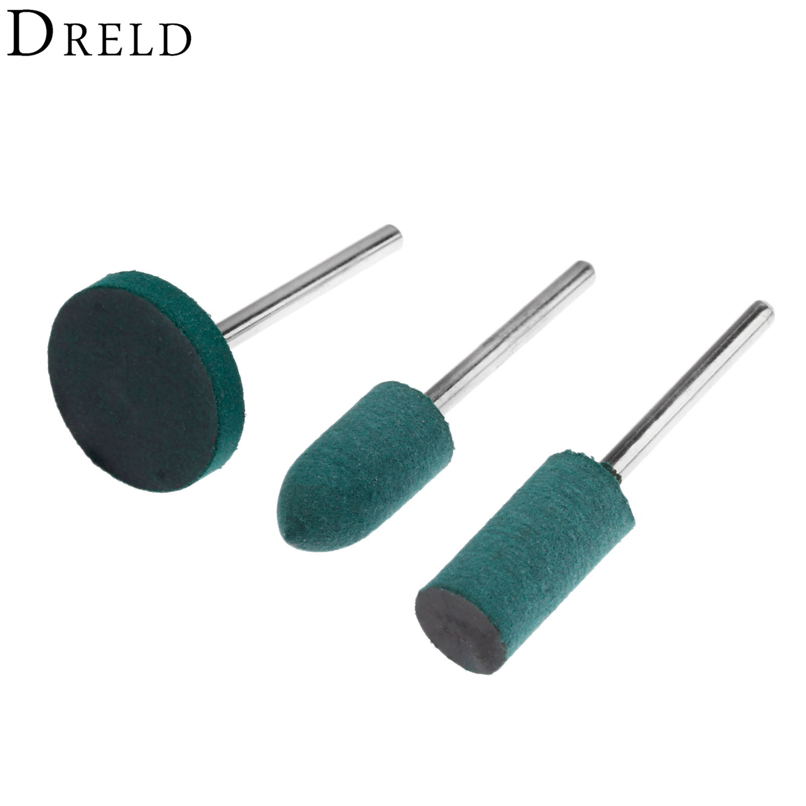 DRELD 3Pcs/set Rubber Grinding Head Polishing Buffing Wheel For Electric Mini Grinder Dremel Rotary Tools Cylinder+Bullet+T Type