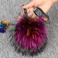 15cm Colorful fur key chains Backpack pendant round ball real raccoon keychain trendy pompom car accessories Silver keyring