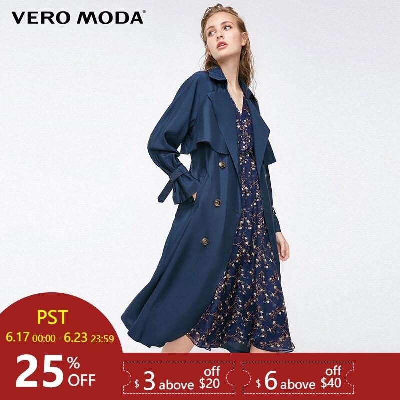 Vero Moda Straight Fit Medium Length Lapel Mulberry Silk   Trench   Coat|318321515