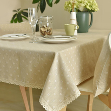 Simanfei 2017 Nature Pastoralism Dot Flower Pattern Lace Edge Rectangular Table Cloth Hiking Outdoor Party Tablecloths