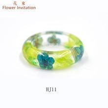 Flower Invitation Finished  Ring / DIY Hand Plant Specimen Natural Dried leaves Resin HJ11