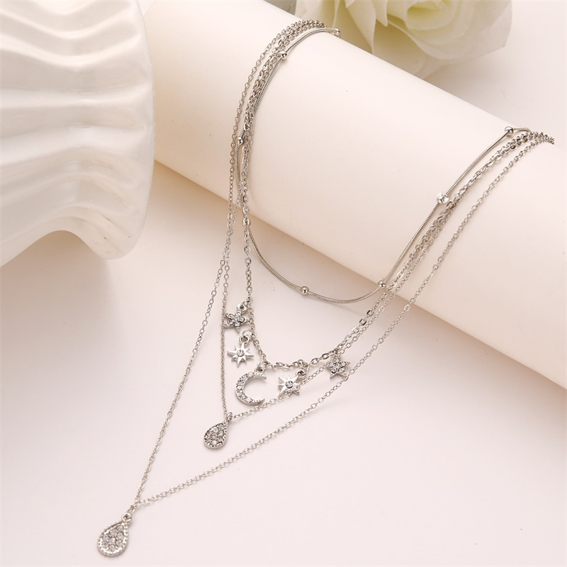 Crystal Moon Stars Multilayer Necklace 2