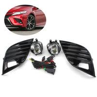 JanDeNing 1 Set Front Bumper Bezel LED Fog Driving Light Lamp Harness Kit Fit for Toyota Camry 2018 2019 Style