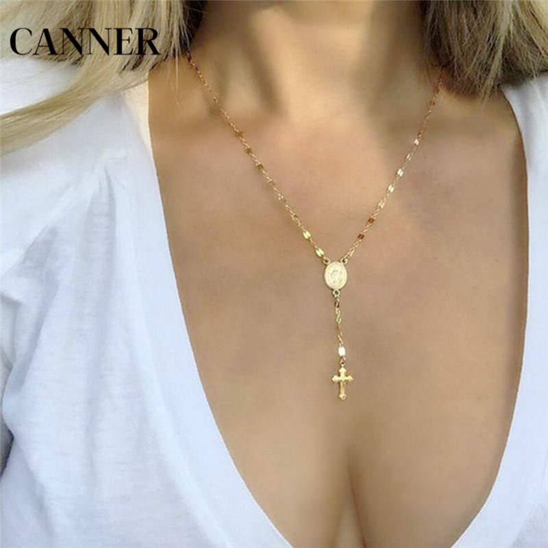 Canner Fashion Cross Pendant Necklace Women Gold/Silver/Rose Gold Long Chain Rosary Madonna Coin Necklaces Men Religious Jewelry necklace