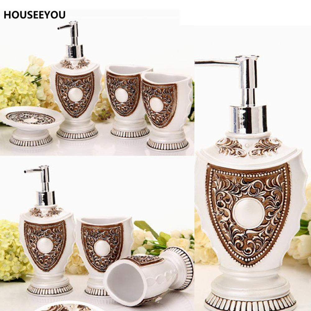 Bathroom Dispenser Set Us 47 78 19 Off European Royal Bath Ensemble Bathroom Accessory Set Lotion Dispenser Toothbrush Holder Soap Dish Bathroom Accessories In Bathroom