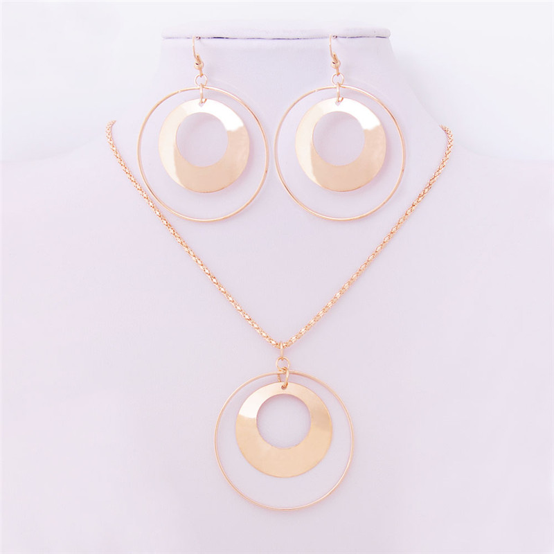 Vintage African Jewelry Sets for Women Gold Color Metal Round Pendant Necklace Statement Earrings Wedding Party