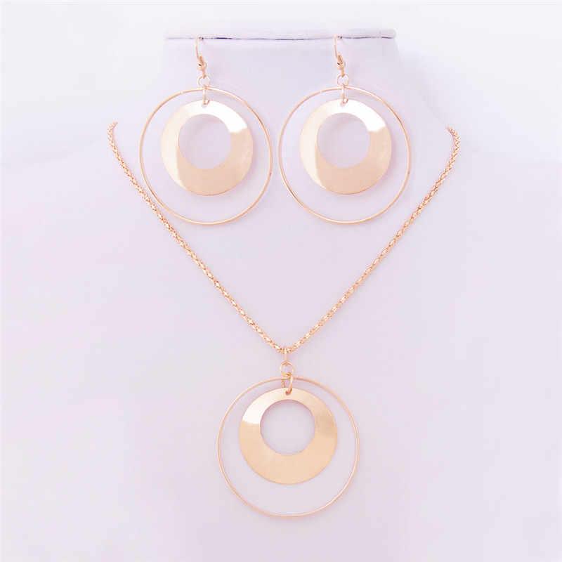 Vintage Afrikanische Schmucksachen für Frauen Gold Farbe Metall Runde Anhänger Halskette Erklärung Ohrringe Hochzeit Schmuck Geschenk