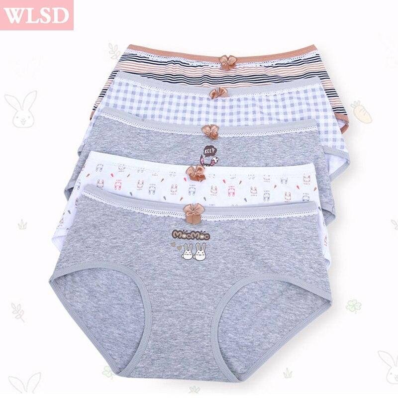 WLSD Women Underwear Cotton Briefs Breathable Soft Ladies Panties Comfort Seamless Cute Cartoon Girls Lingerie Plus Size M L XL