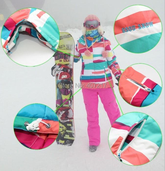 2014 new womens colorized stripes waterproof warm snowboarding jackets ladies colorful grid ski jacket anorak skiwear